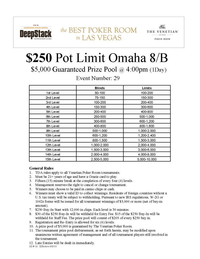 $250 Pot Limit Omaha 8B online