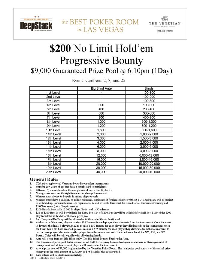 DSM $200 NL Progressive Bounty