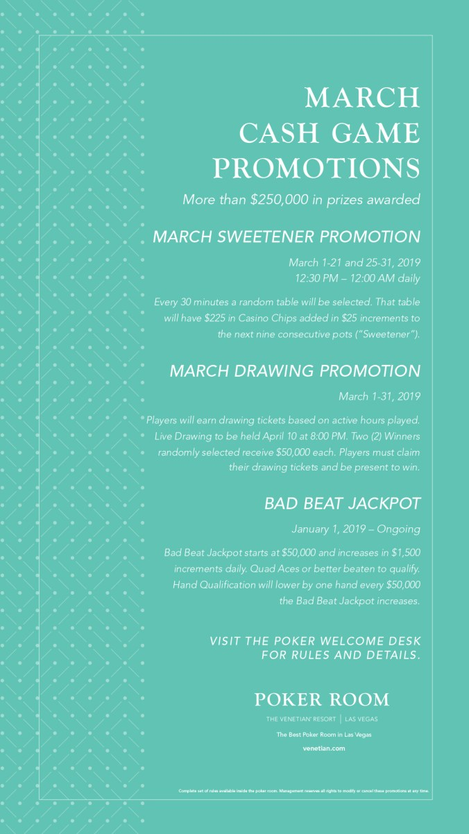 March Cash Game Promotions