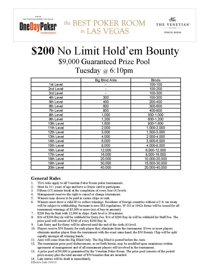 Tue 6pm $200 NL Bounty $9K GTD
