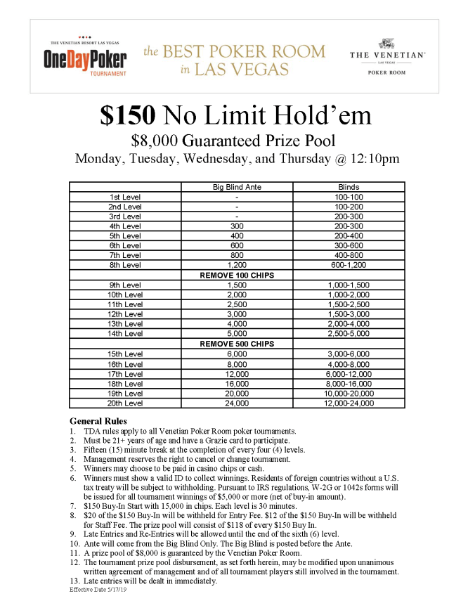 $150 No Limit Hold'emMTWTh12pm