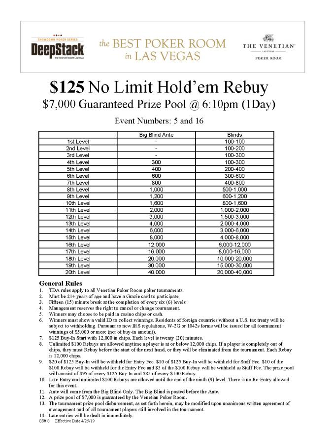 DSA $125 NL Rebuy