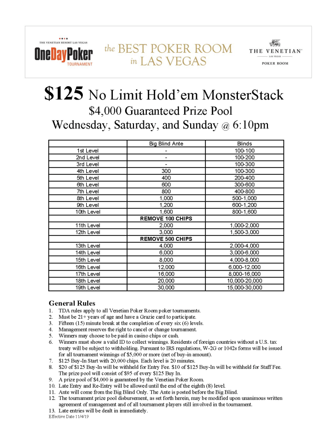 $125 WSaSu 6pm No Limit Hold'em MonsterStack