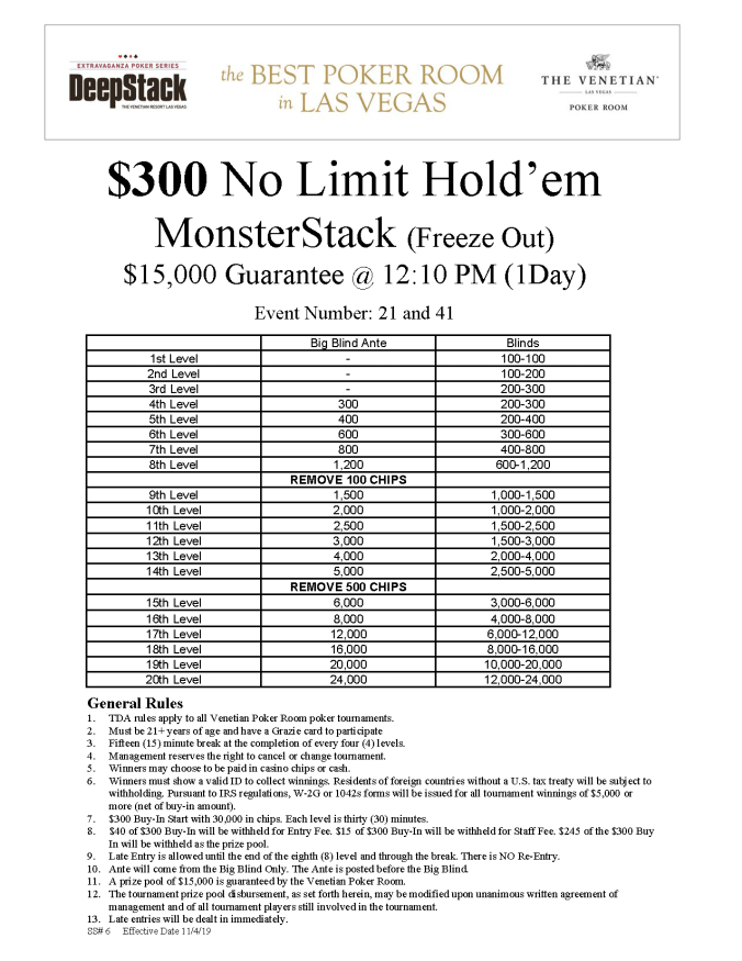 NYE $300 NL MonsterStack Freeze Out