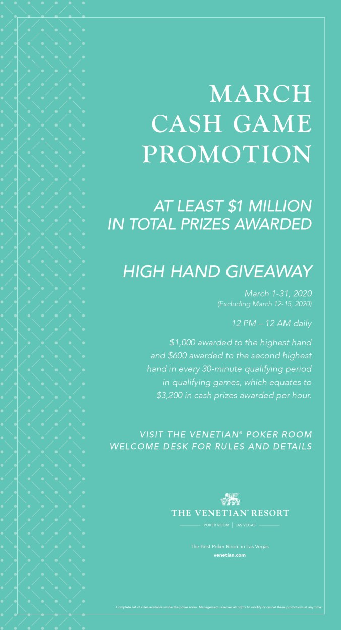 March Cash Game Promotion