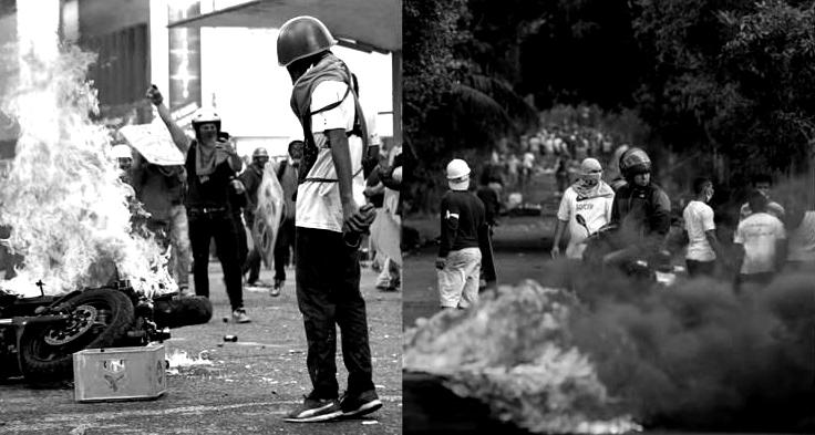 Caracas, Venezuela, May 2017 (left), Managua, Nicaragua, May 2018. (Archive)