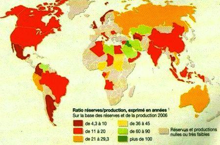 Ratio réserves/production de pétrole