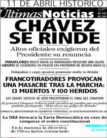 Ultimas Noticias - 11 avril 2002