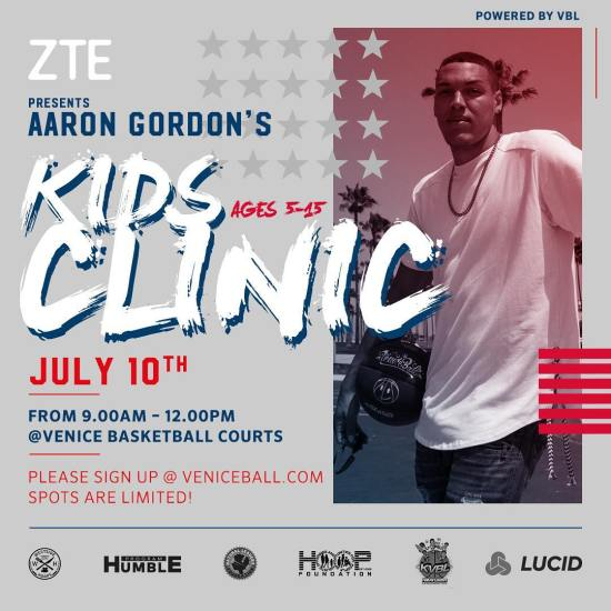 @a00g_ basketball clinic presented by @zteusa this sunday July 10th starts at 9am at the Venice Beach courts. For more info and to sign up Veniceball.com. $50 gets you a ball, event T-shirt and memories of a lifetime. The event will feature a 7 and 8ft dunk contest. . Scholarships available #agdunkfest #vbl #gameneverstops #veniceball