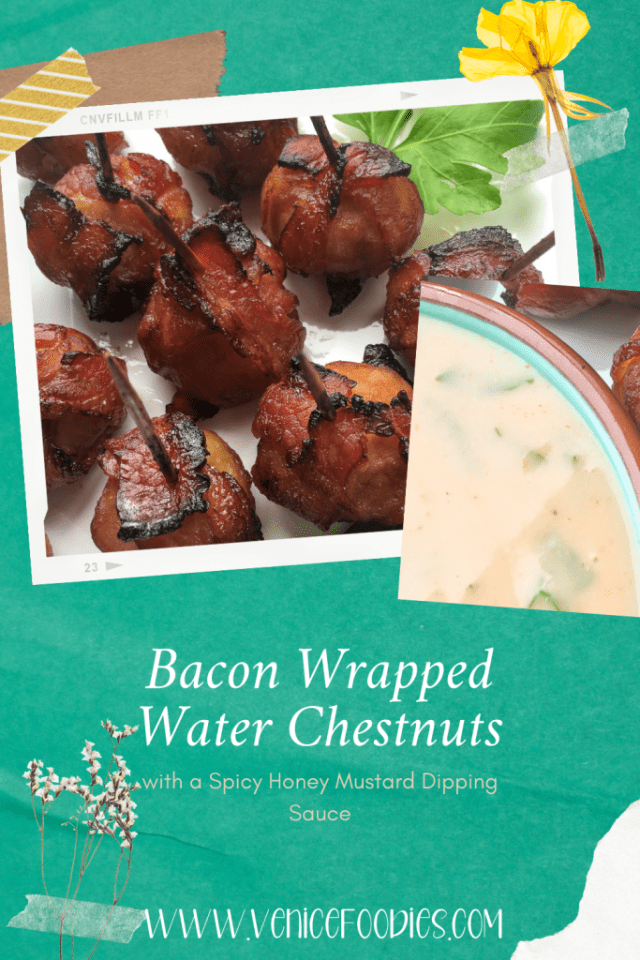 Bacon wrapped water chestnuts with spicy honey mustard dip
