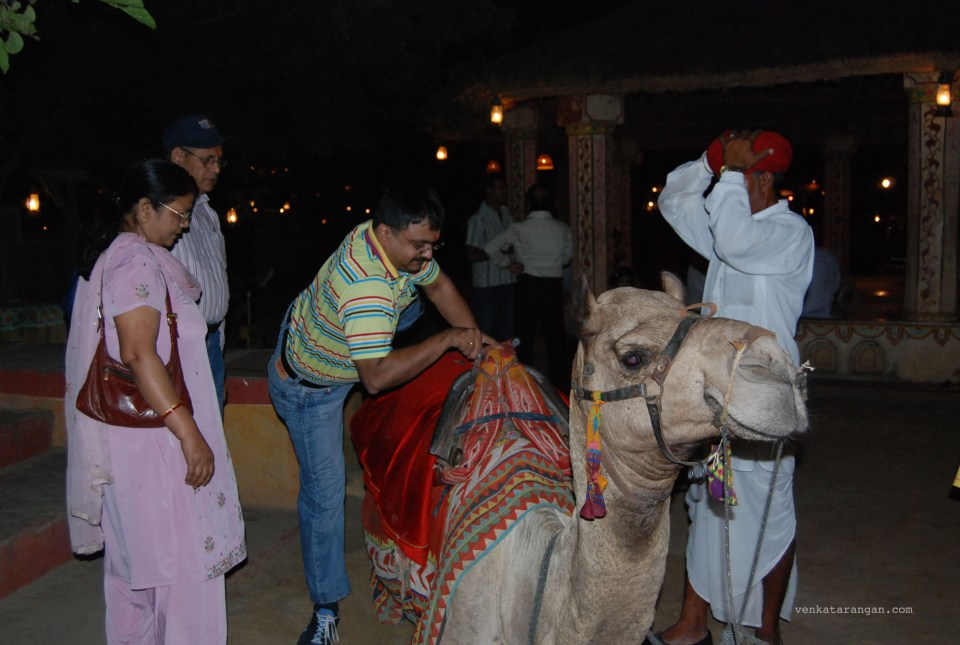 Getting to ride a camel in Chokhi Dhani