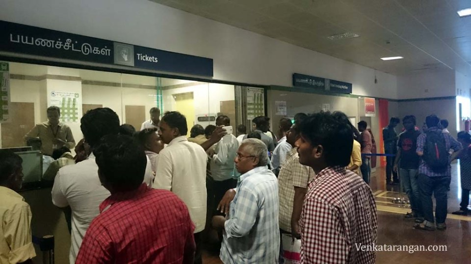 There was good crowd in Koyambedu station when I bought my return ticket