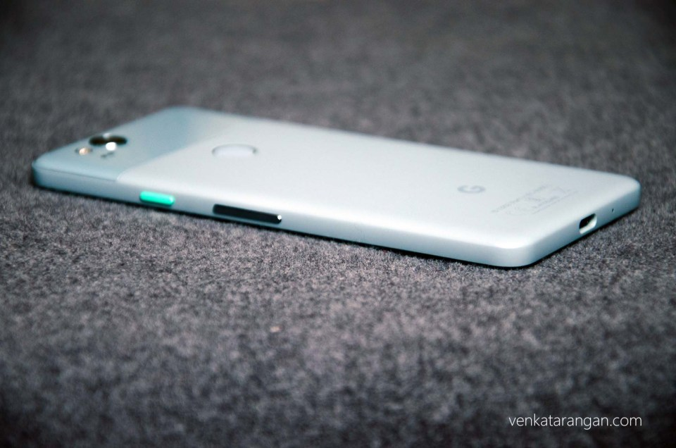 Google Pixel 2 - I love the blue colour and the right green button is cool to
