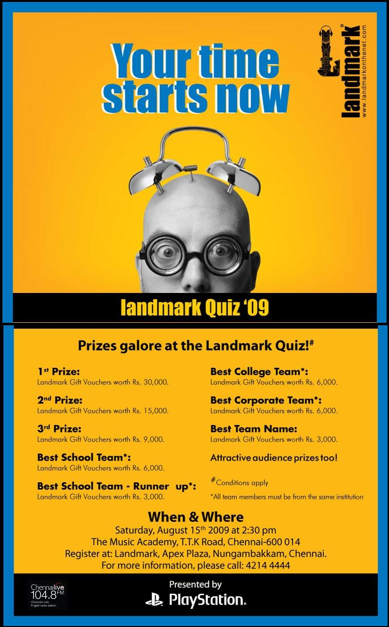 Invite for 2009 Landmark Quiz