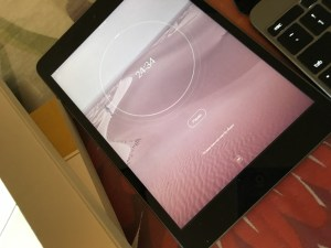 """Tide on iPad Mini. I plug in my headphones and listen to """"Muse"""" while I write."""