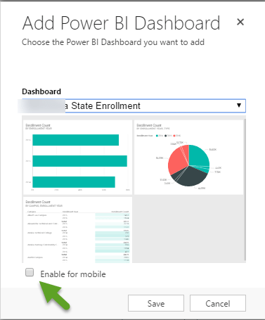a new dialog shows all the dashboards in power bi in a dropdown. The user chooses which one they want embedded in this dashboard.