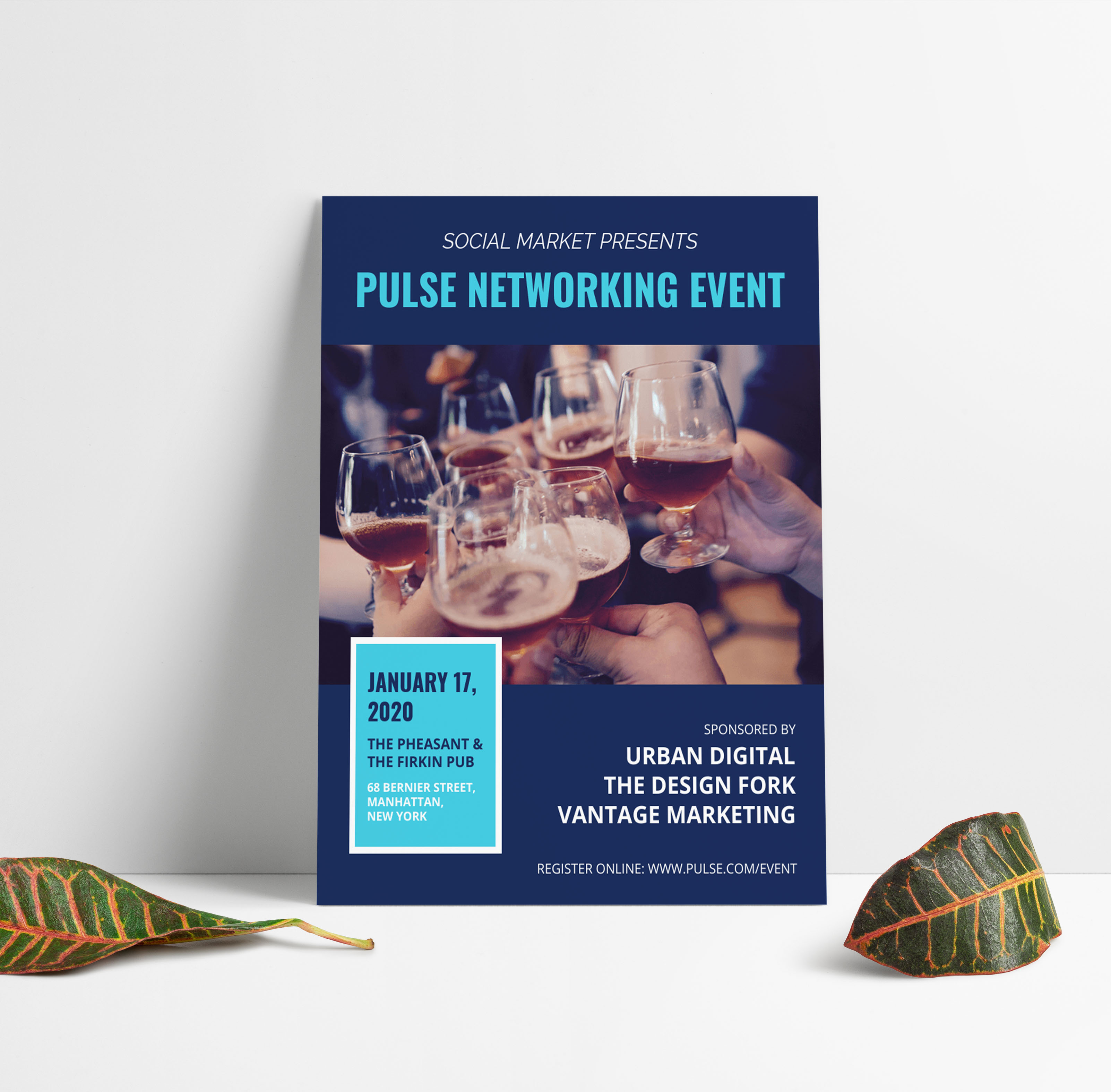 Bold Blue Networking Event Flyer Idea  Venngage Flyer Examples