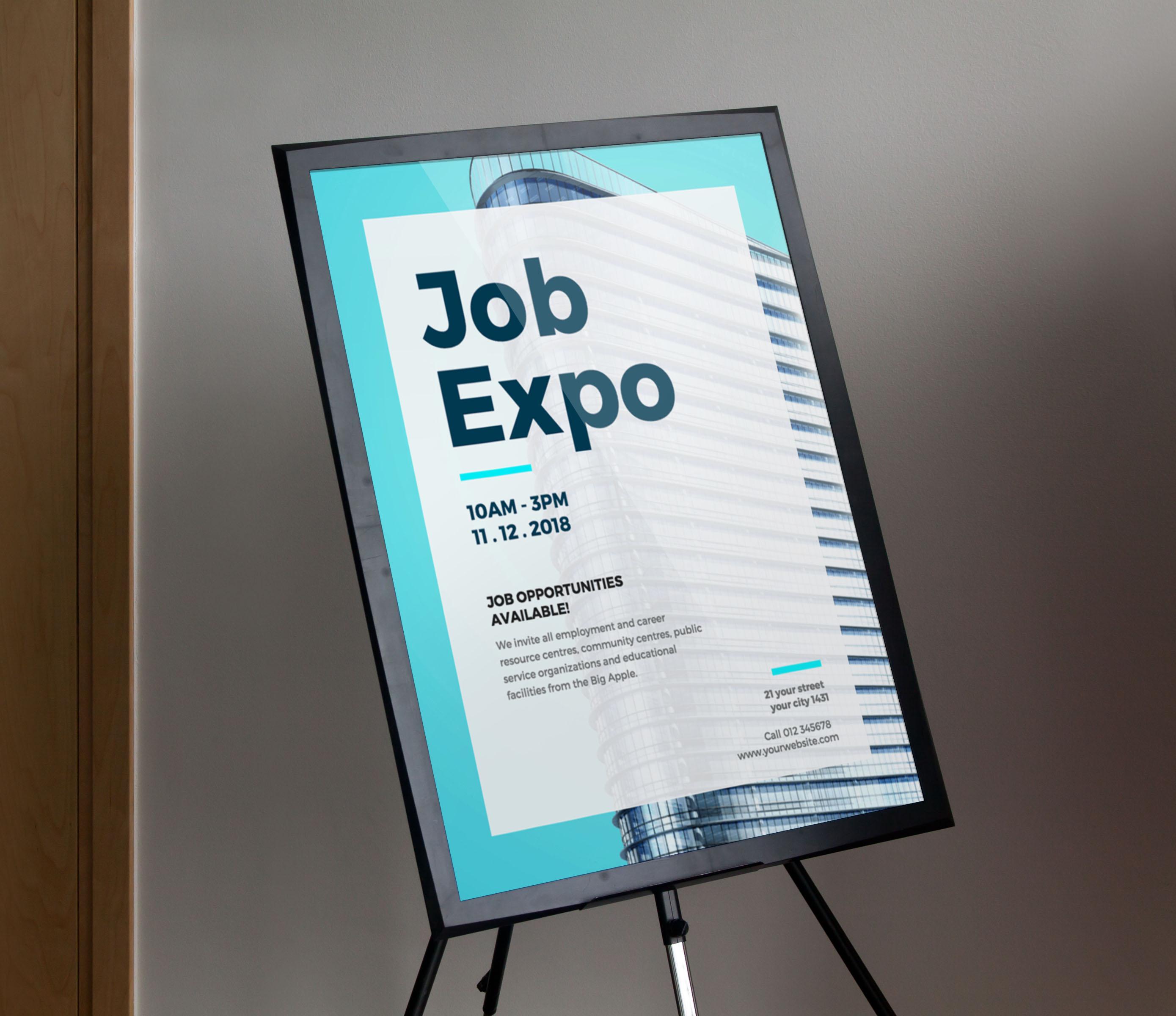 Creative Blue Now Hiring Event Poster Idea Venngage