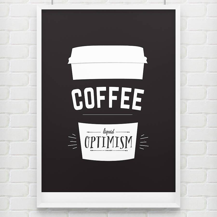 Minimalist Liquid Optimism Coffee Poster Example
