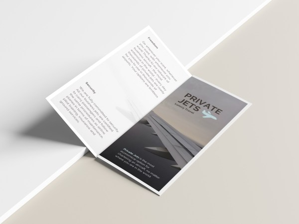 Private Jets Airline Trifold Brochure Template - Venngage