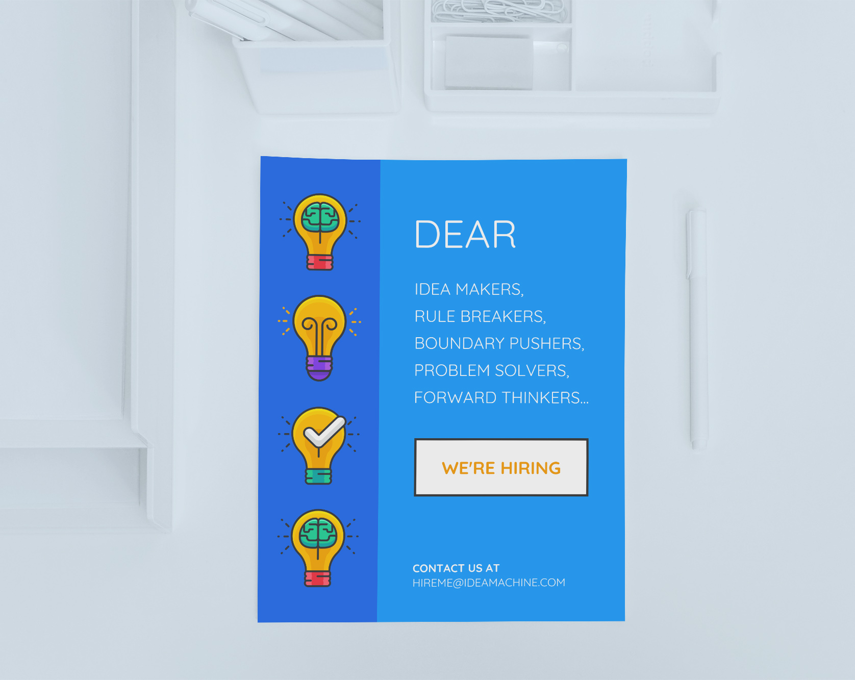 Simple Blue Startup Hiring Poster Example Venngage