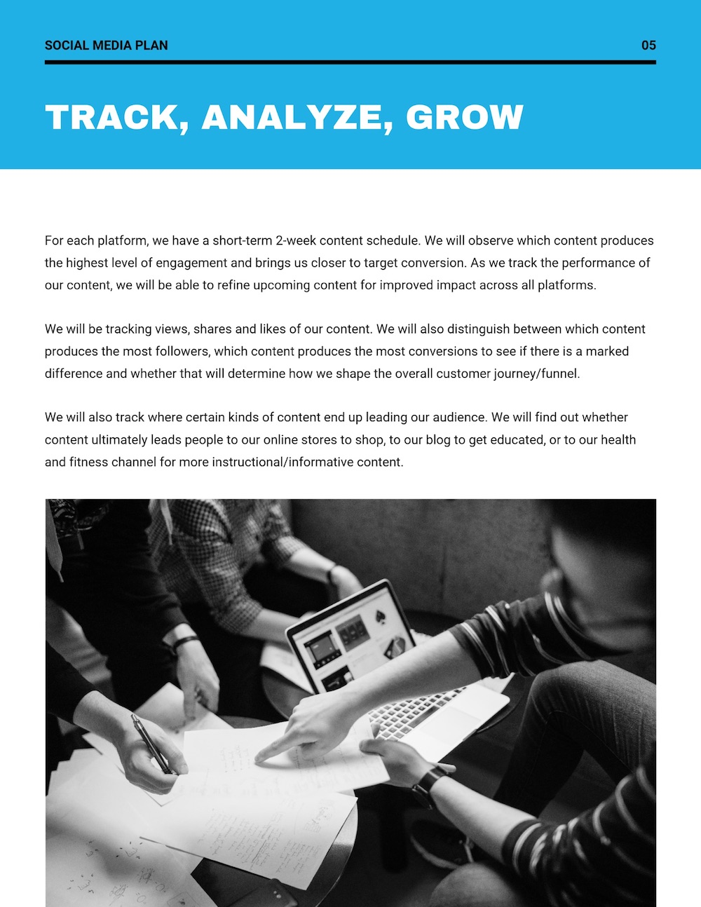 Blue Social Media Simple Marketing Plan Template