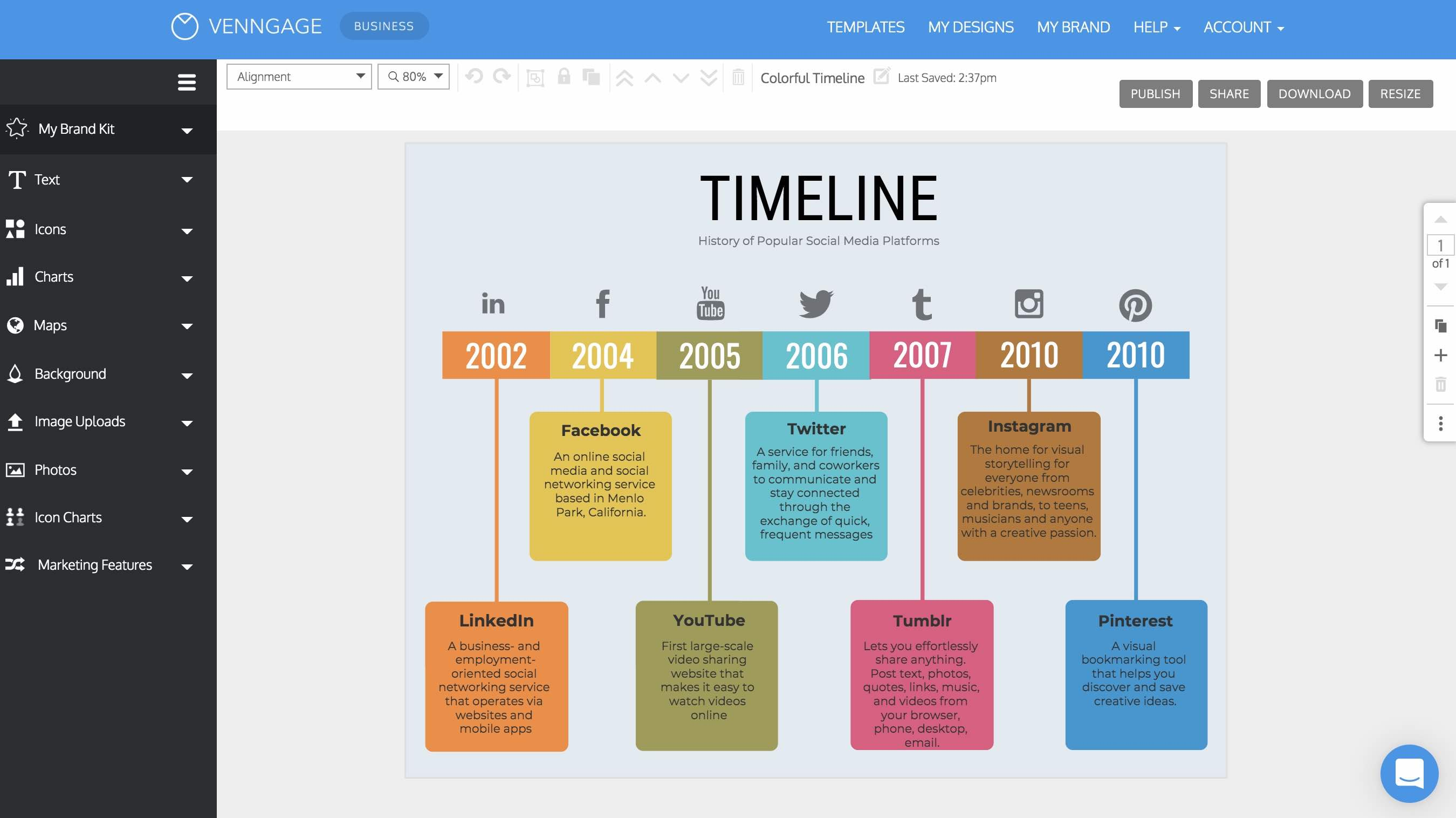 Blank Timeline Template 10 Events