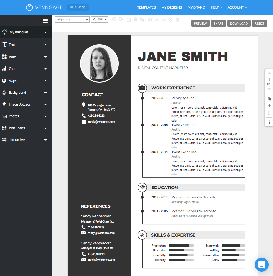 resume online gratis