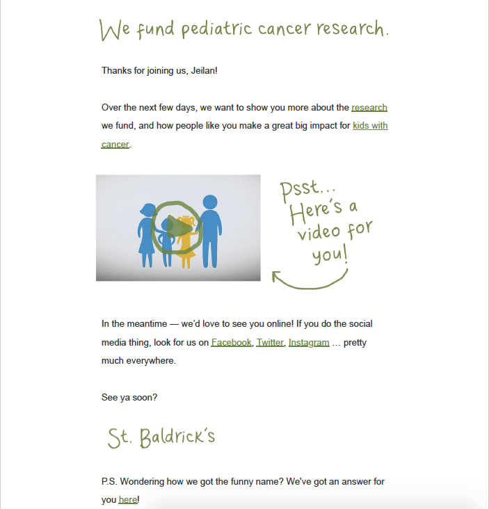 St. Baldrick's Opening Email