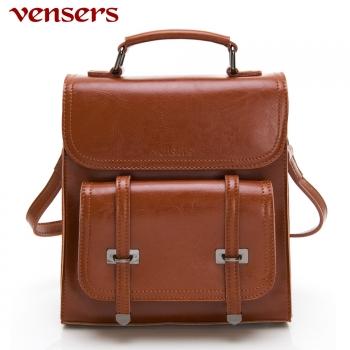【vensers】 小牛皮潮流個性包~多功能包 (NL1080101棕色)-韓系潮流包-Vensers
