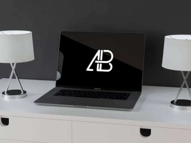 MacBook Pro on white Sideboard Mockup