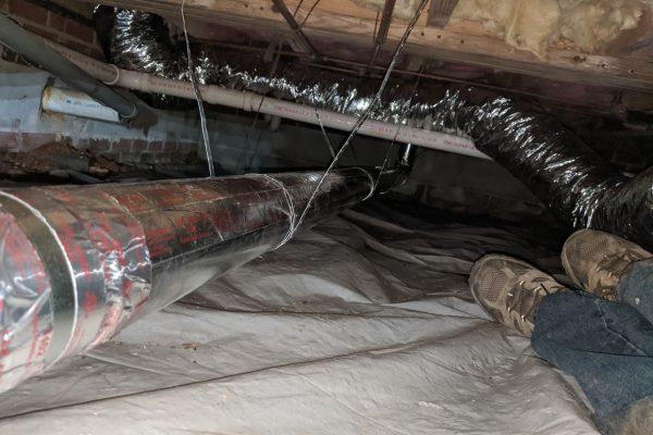 dryer vent installation tight crawlspace