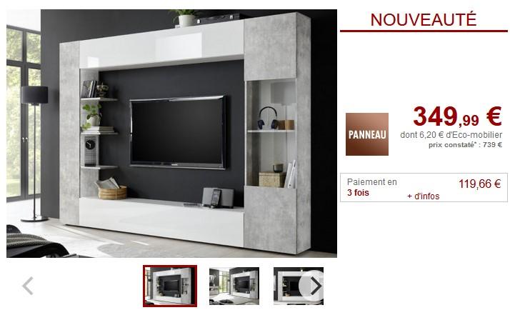 mur tv sirius avec rangements pas cher