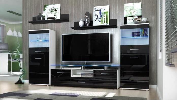 meubles tv mural blanc et noir 252cm