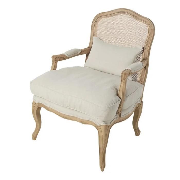 fauteuil chateau en lin vert clair