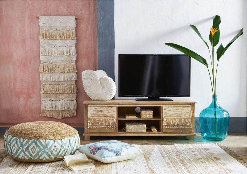 meuble tv 2 portes caraiba en manguier