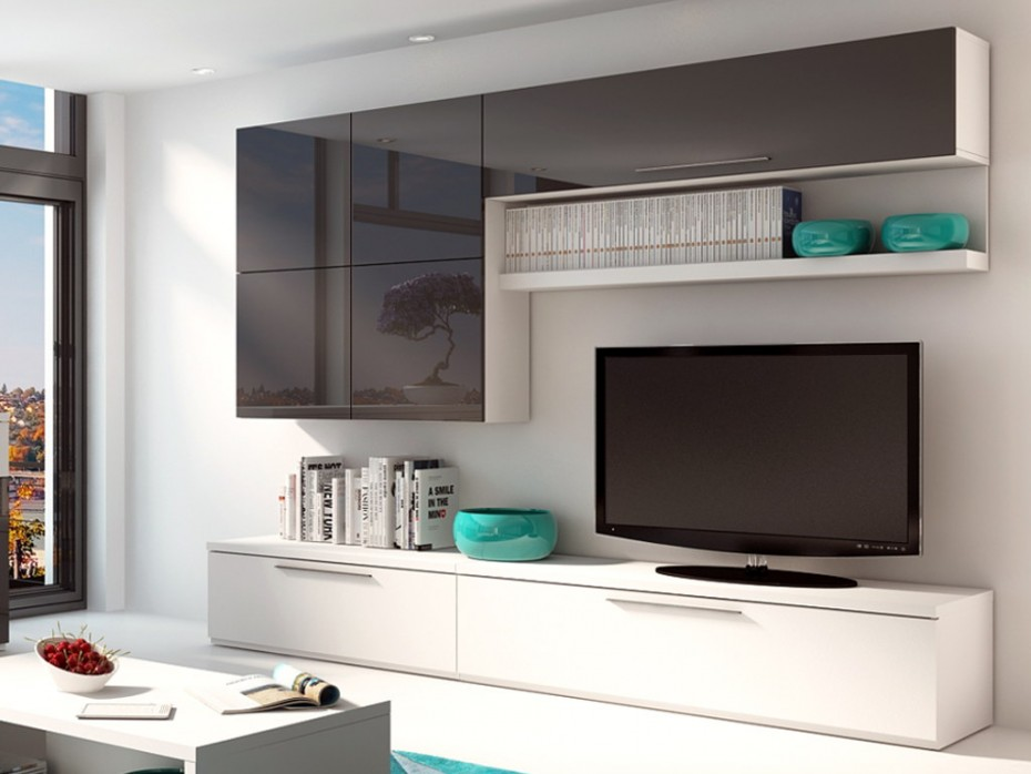 Mur TV MAKASAR avec rangements  Meuble Tv Vente Unique