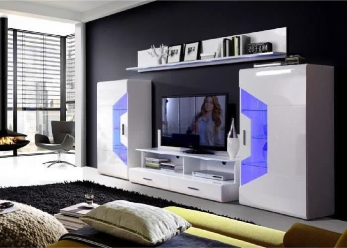 saphir meuble tv led contemporain blanc
