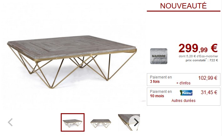 table basse design melvina marbre gris