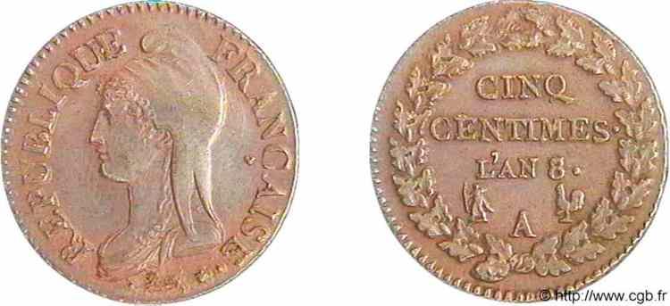 Afbeeldingsresultaat voor cinq centimes l'an 8