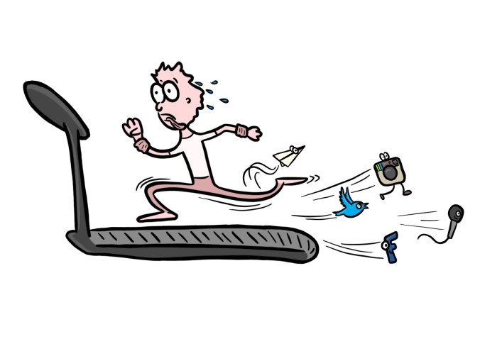 Person running on treadmill  to represent generating content