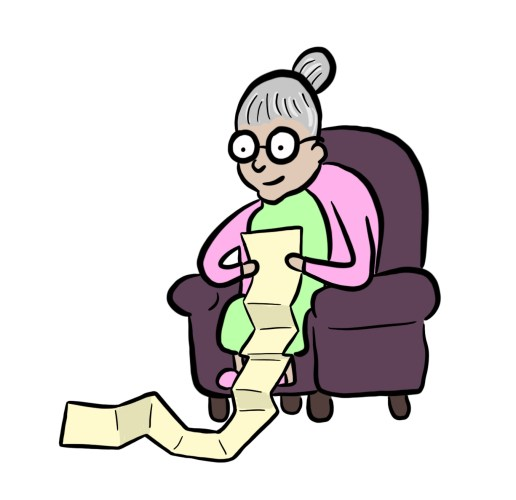 Cartoon of grandma reading long form content