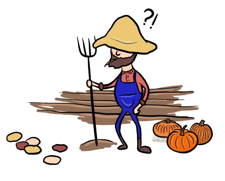 Cartoon of pumpkin farmer