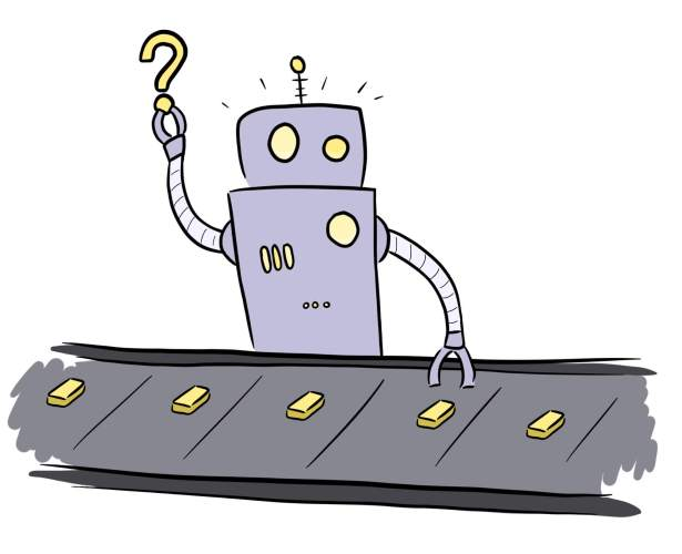 Cartoon of robot coming up with content ideas