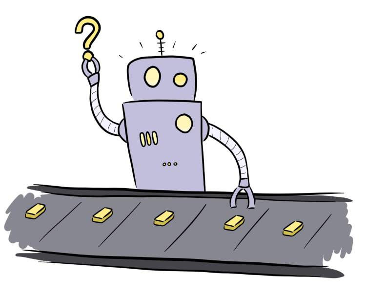 Cartoon of robot generating content ideas on a production line