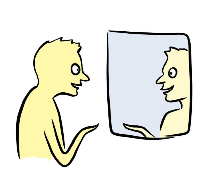 Cartoon of person developing their brand identity by practicing in the mirror