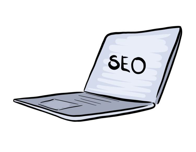 Cartoon of Laptop with the word SEO written on the screen