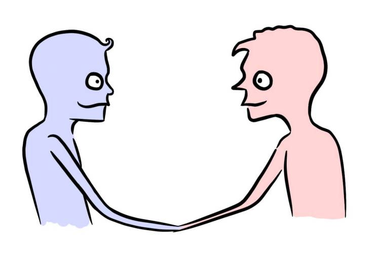 develop trust with your target market two people shaking hands cartoon