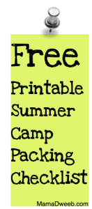 Free #Printable Summer Camp Checklists – blank & suggested!