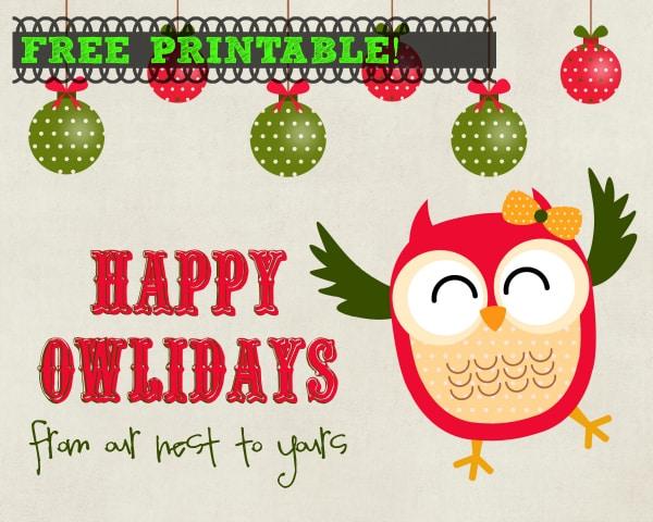 happy owlidays free Printable